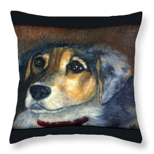 Dog Throw Pillow featuring the painting Roxie by Gail Kirtz
