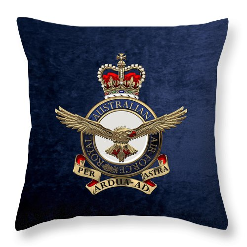 'australian Insignia & Heraldry' Collection By Serge Averbukh Throw Pillow featuring the digital art Royal Australian Air Force - R A A F Badge Over Blue Velvet by Serge Averbukh