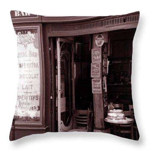 Cafe Throw Pillow featuring the photograph Royal Bar Paris by Kathy Yates