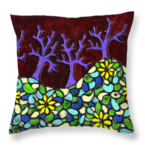 Trees Throw Pillow featuring the painting Royal Forest by Wayne Potrafka