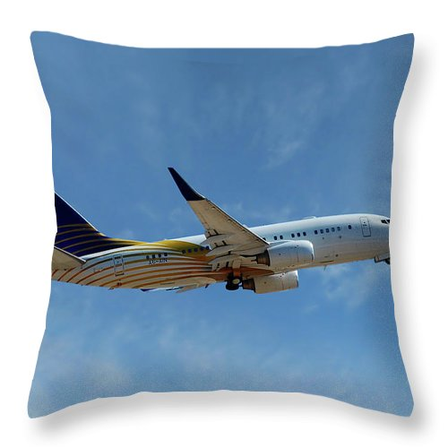 Passenger Throw Pillow featuring the photograph Royal Jet Boeing 737-7z5 by Smart Aviation