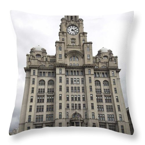 Liverpool Throw Pillow featuring the photograph Royal Liver Building Liverpool by Christopher Rowlands