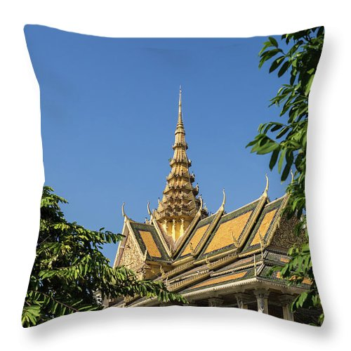 Cambodia Throw Pillow featuring the photograph Royal Palace 03 by Rick Piper Photography