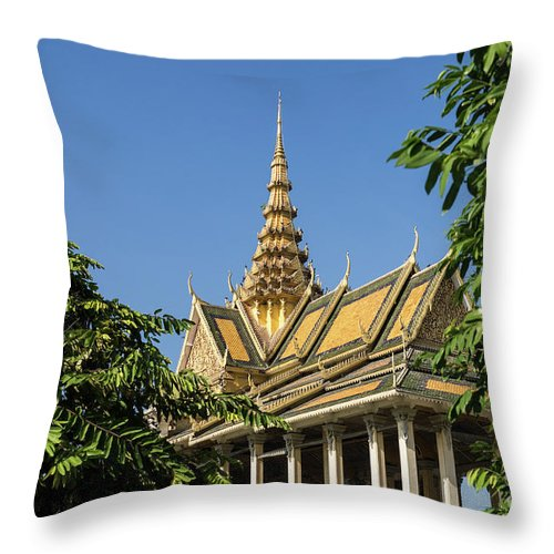 Cambodia Throw Pillow featuring the photograph Royal Palace 04 by Rick Piper Photography