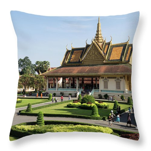 Cambodia Throw Pillow featuring the photograph Royal Palace 06 by Rick Piper Photography