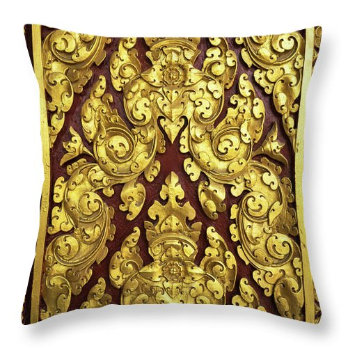 Cambodia Throw Pillow featuring the photograph Royal Palace Gilded Door 02 by Rick Piper Photography