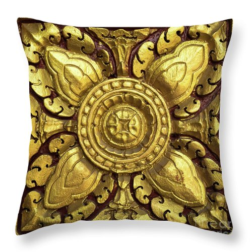 Cambodia Throw Pillow featuring the photograph Royal Palace Gilded Door 04 by Rick Piper Photography