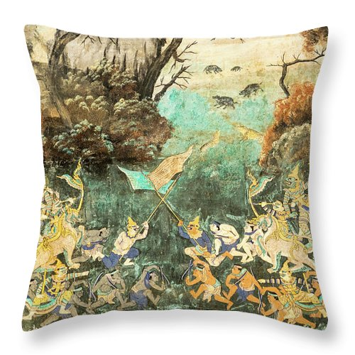 Cambodia Throw Pillow featuring the photograph Royal Palace Ramayana 15 by Rick Piper Photography