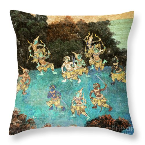 Cambodia Throw Pillow featuring the photograph Royal Palace Ramayana 16 by Rick Piper Photography