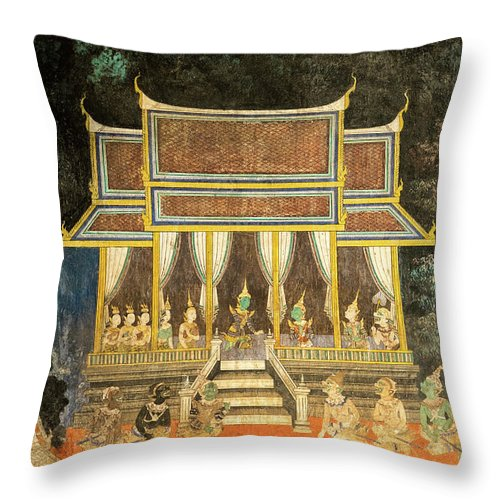Cambodia Throw Pillow featuring the photograph Royal Palace Ramayana 18 by Rick Piper Photography