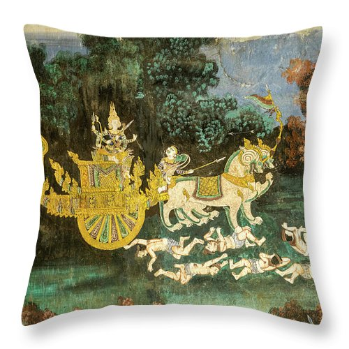 Cambodia Throw Pillow featuring the photograph Royal Palace Ramayana 19 by Rick Piper Photography
