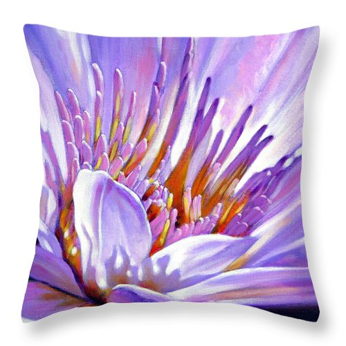 Water Lily Throw Pillow featuring the painting Royal Purple And Gold by John Lautermilch