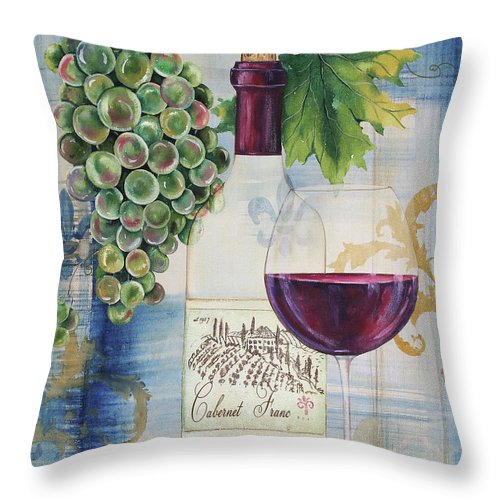Wine Throw Pillow featuring the painting Royal Wine-a by Jean Plout