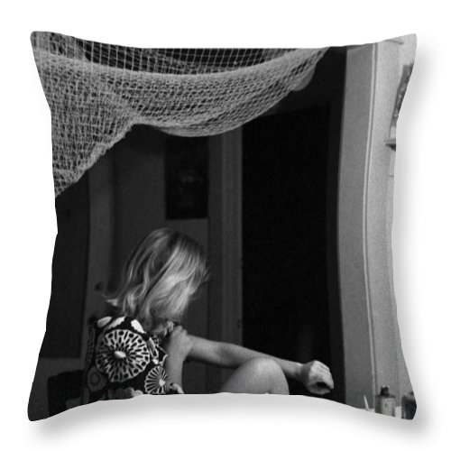 Portrait Throw Pillow featuring the photograph Roz Checks Her Tracks by Lee Santa