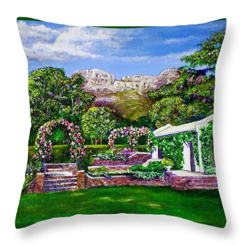 Landscape Throw Pillow featuring the painting Rozannes Garden by Michael Durst