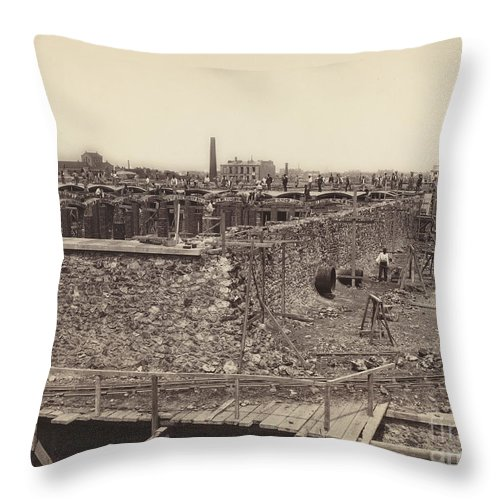 Throw Pillow featuring the photograph R?servoir De Montrouge, Basin Sup?rieur, C?t? Droit (montrouge Reservoir, Upper Basin, Right Side) by Hippolyte-auguste Collard