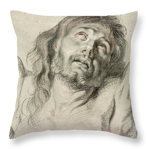 17th Century Throw Pillow featuring the drawing Rubens, Christ. by Granger