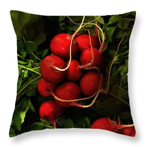 Radishes Throw Pillow featuring the painting Rubies From The Field by RC DeWinter