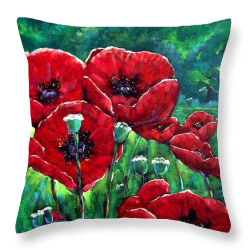 Forest Throw Pillow featuring the painting Rubies In The Emerald Forest by Richard T Pranke