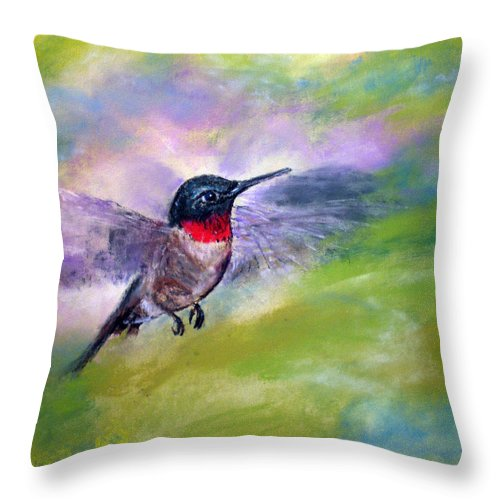 Hummingbird Throw Pillow featuring the painting Ruby by Cathy Weaver