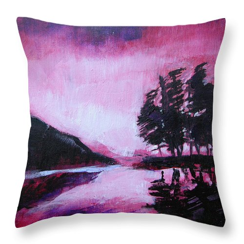 Ruby Dawn Throw Pillow featuring the painting Ruby Dawn by Seth Weaver