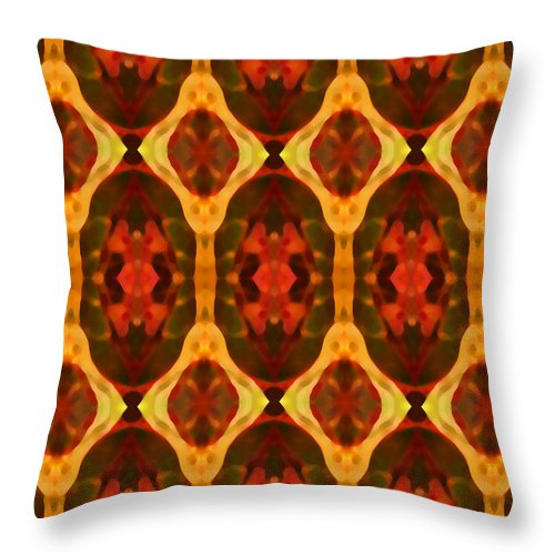 Abstract Throw Pillow featuring the painting Ruby Glow Pattern by Amy Vangsgard