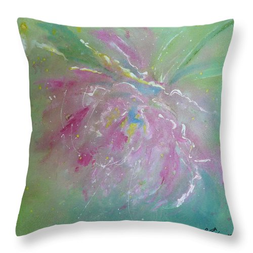 Peony Throw Pillow featuring the painting Ruby Red Peony by Ruth Kamenev