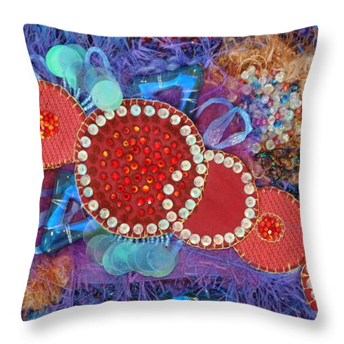 Throw Pillow featuring the mixed media Ruby Slippers 1 by Judy Henninger