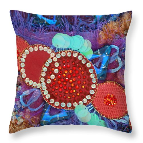 Throw Pillow featuring the mixed media Ruby Slippers 2 by Judy Henninger
