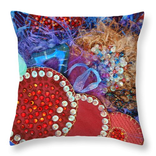 Throw Pillow featuring the mixed media Ruby Slippers 3 by Judy Henninger