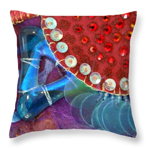 Throw Pillow featuring the mixed media Ruby Slippers 4 by Judy Henninger