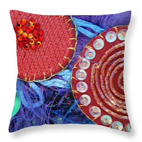 Throw Pillow featuring the mixed media Ruby Slippers 5 by Judy Henninger