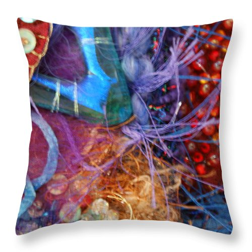 Throw Pillow featuring the mixed media Ruby Slippers 6 by Judy Henninger