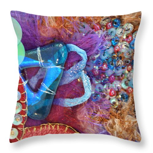 Throw Pillow featuring the mixed media Ruby Slippers 8 by Judy Henninger