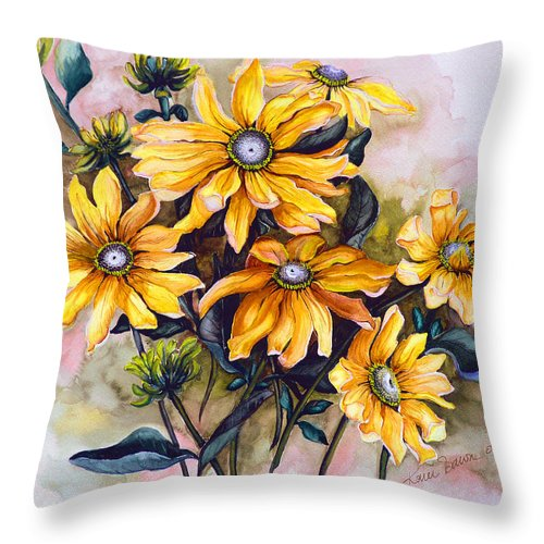 Flower Painting Sun Flower Painting Flower Botanical Painting  Original Watercolor Painting Rudebeckia Painting Floral Painting Yellow Painting Greeting Card Painting Throw Pillow featuring the painting Rudbeckia Prairie Sun by Karin Dawn Kelshall- Best