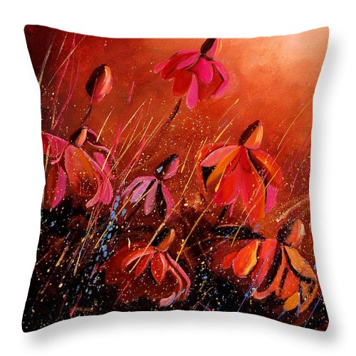 Poppies Throw Pillow featuring the painting Rudbeckia's 45 by Pol Ledent