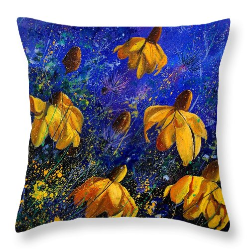 Poppies Throw Pillow featuring the painting Rudbeckia's by Pol Ledent