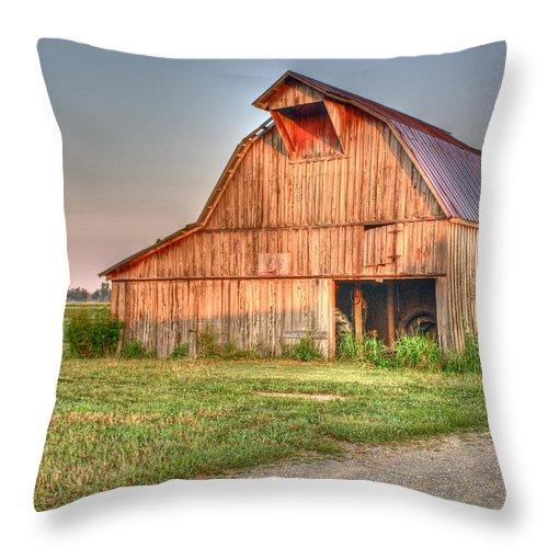 Barn Throw Pillow featuring the photograph Ruddish Barn At Dawn by Douglas Barnett