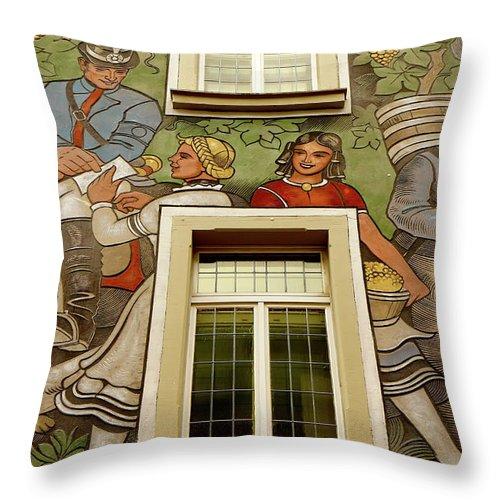 Rudesheim Throw Pillow featuring the photograph Rudesheim Mural by KG Thienemann