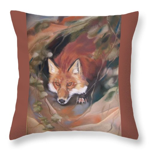Red Fox Throw Pillow featuring the pastel Rudy Adult by Marika Evanson