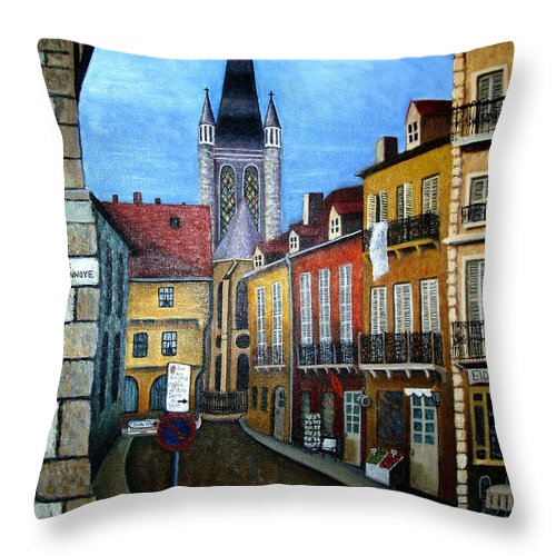 Street Scene Throw Pillow featuring the painting Rue Lamonnoye In Dijon France by Nancy Mueller