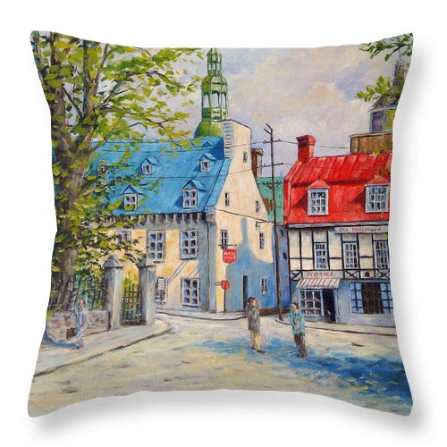 Ste Anne Throw Pillow featuring the painting Rue Ste Anne 1965 by Richard T Pranke