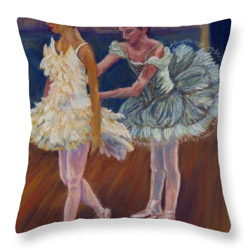 Ballerina Throw Pillow featuring the painting Ruffled Feathers by Sharon E Allen