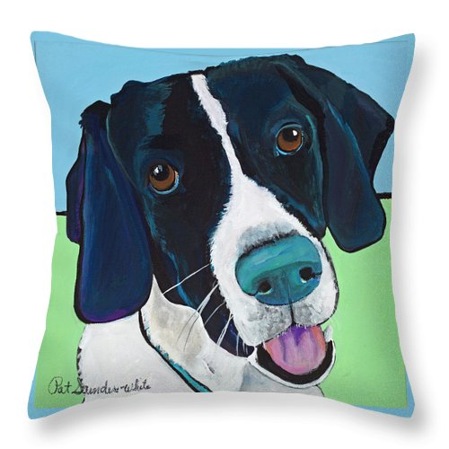 Rescue Dog Throw Pillow featuring the painting Ruger by Pat Saunders-White
