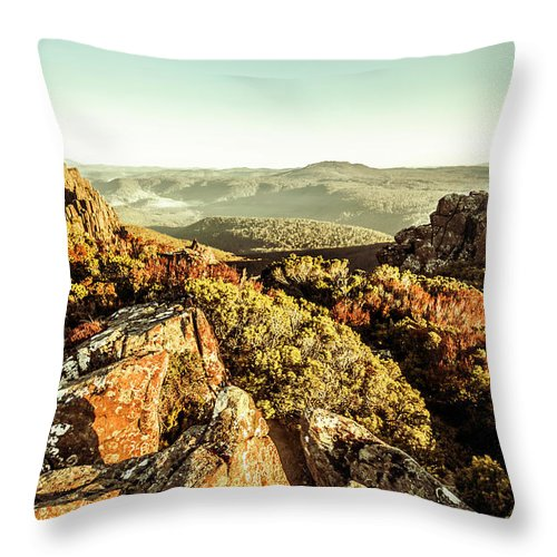 Rugged Throw Pillow featuring the photograph Rugged Mountaintops To Regional Valleys by Jorgo Photography - Wall Art Gallery