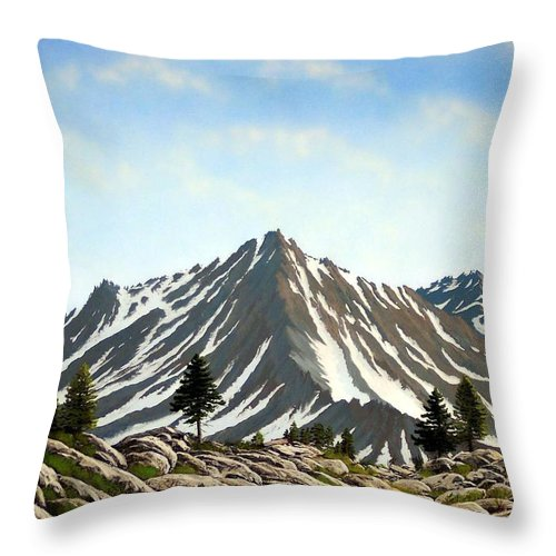 Mountians Throw Pillow featuring the painting Rugged Peaks by Frank Wilson