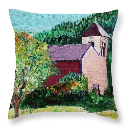 Church Throw Pillow featuring the painting Ruidoso by Melinda Etzold