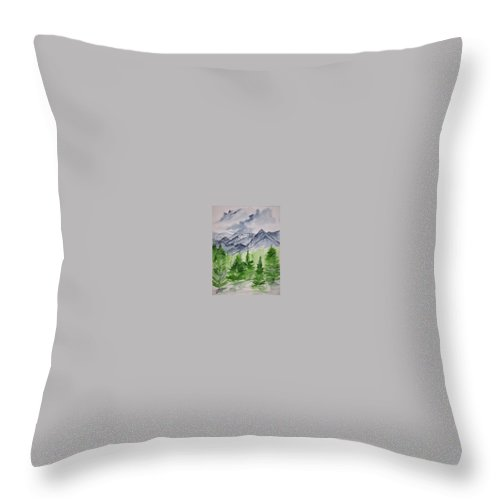 Plein Air Throw Pillow featuring the painting Ruidoso Nm Southwestern Mountain Landscape Watercolor Painting Poster Print by Derek Mccrea