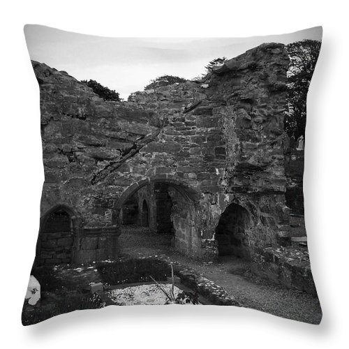 Irish Throw Pillow featuring the photograph Ruins At Donegal Abbey Donegal Ireland by Teresa Mucha