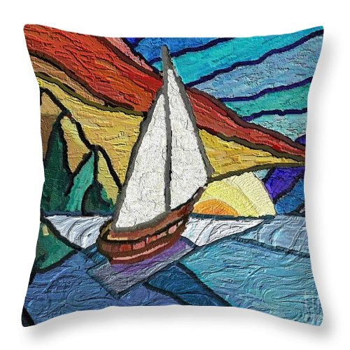 Seascape Throw Pillow featuring the painting Rumbs by Xavier Ferrer